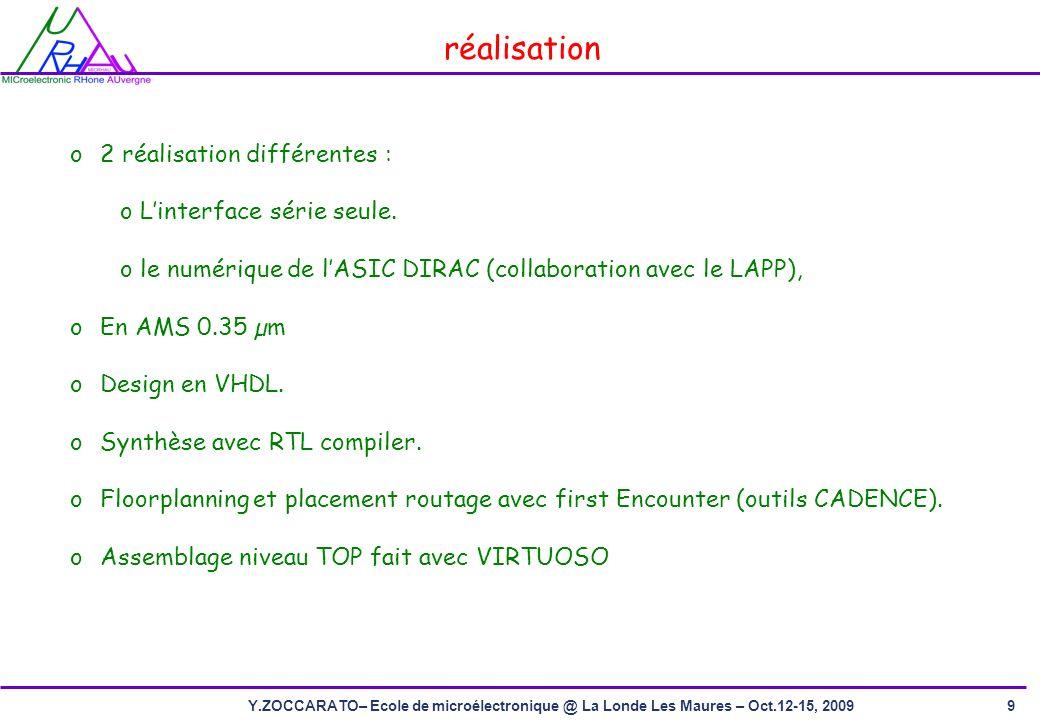 9Y.ZOCCARATO– Ecole de microélectronique @ La Londe Les Maures – Oct.12-15, 2009 réalisation o2 réalisation différentes : o Linterface série seule.