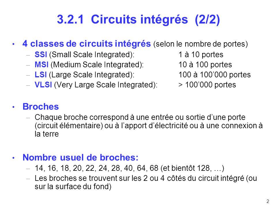 3 3.2.3 Circuits arithmétiques (1/5) Décaleur (shifter) Décalage dun bit à droite (c=1) ou à gauche (c=0)