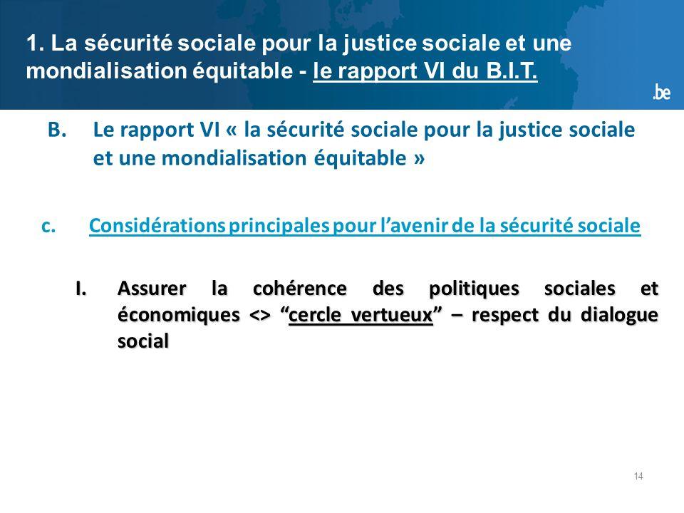 14 B.Le rapport VI « la sécurité sociale pour la justice sociale et une mondialisation équitable » 1.