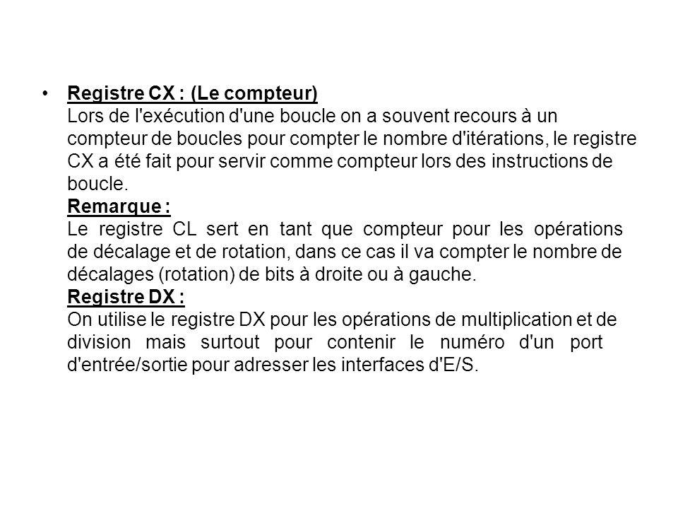 Registre CX : (Le compteur) Lors de l'exécution d'une boucle on a souvent recours à un compteur de boucles pour compter le nombre d'itérations, le reg