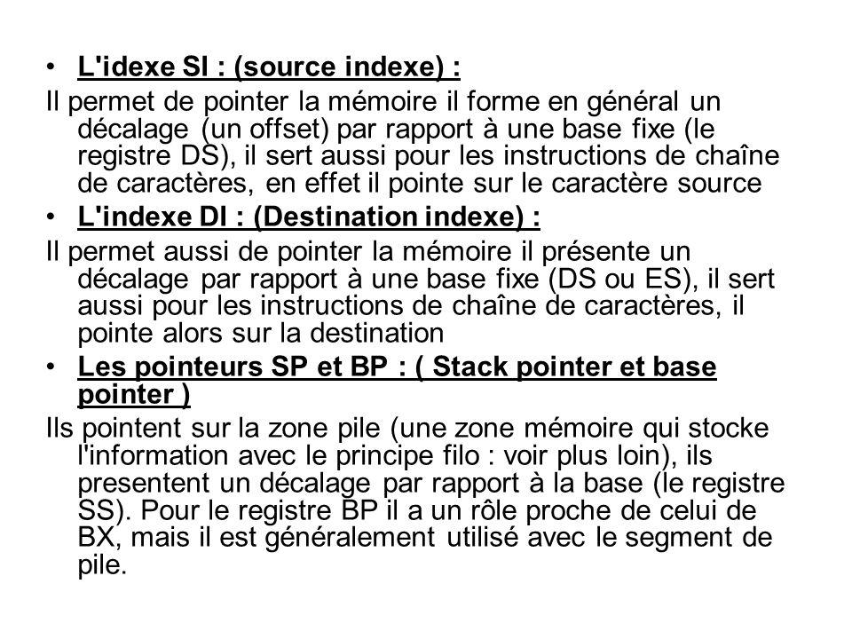 L'idexe SI : (source indexe) : Il permet de pointer la mémoire il forme en général un décalage (un offset) par rapport à une base fixe (le registre DS