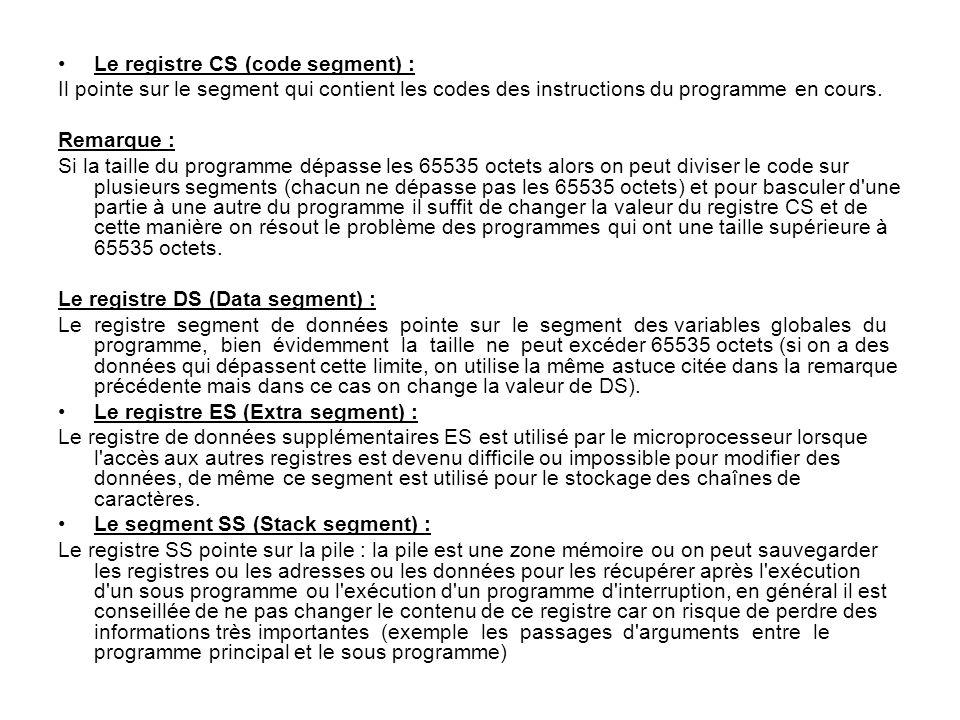 Le registre CS (code segment) : Il pointe sur le segment qui contient les codes des instructions du programme en cours. Remarque : Si la taille du pro