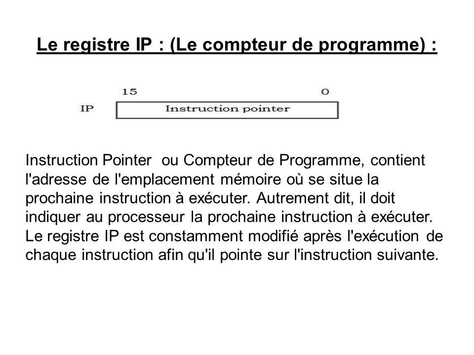 Le registre IP : (Le compteur de programme) : Instruction Pointer ou Compteur de Programme, contient l'adresse de l'emplacement mémoire où se situe la