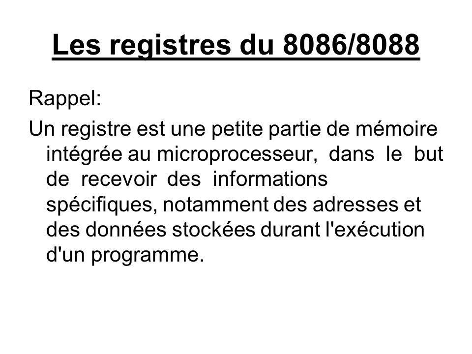 Les registres du 8086/8088 Rappel: Un registre est une petite partie de mémoire intégrée au microprocesseur, dans le but de recevoir des informations