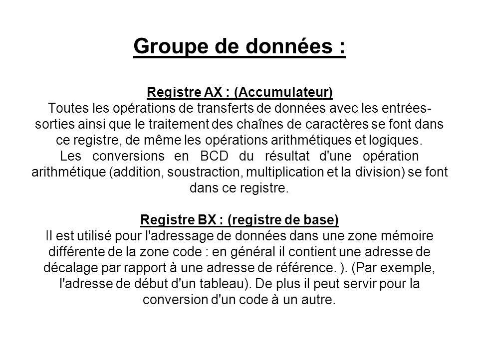Groupe de données : Registre AX : (Accumulateur) Toutes les opérations de transferts de données avec les entrées- sorties ainsi que le traitement des