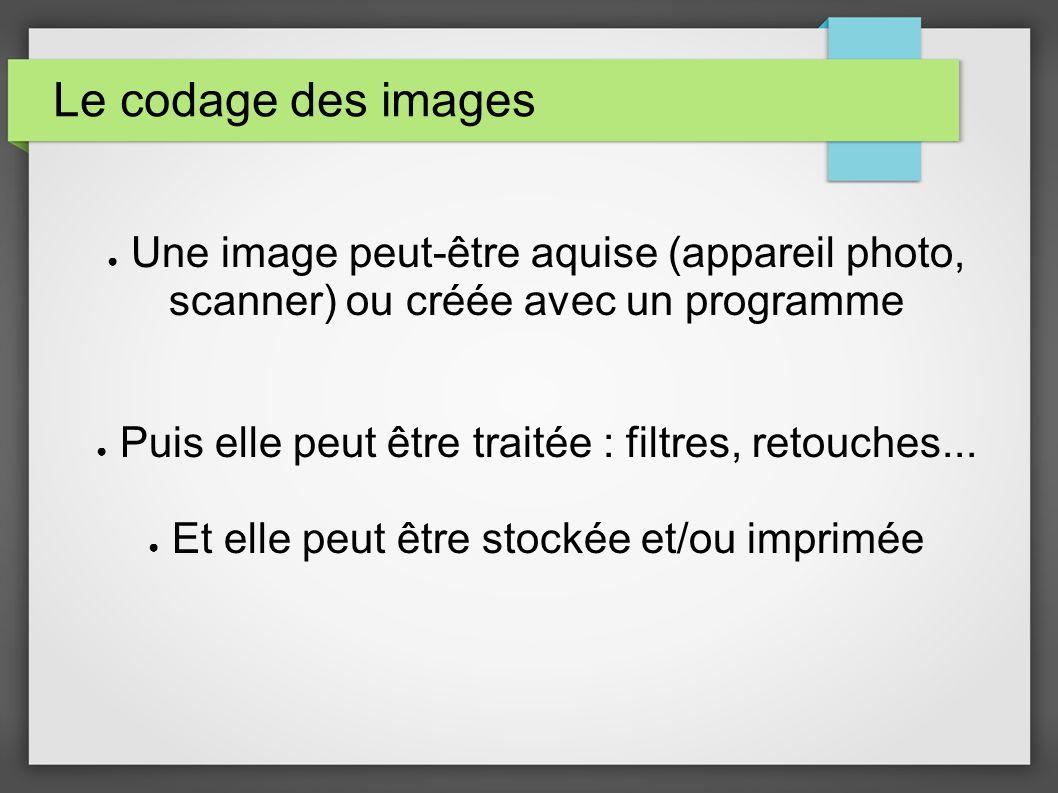 Le codage des images Une image peut-être aquise (appareil photo, scanner) ou créée avec un programme Puis elle peut être traitée : filtres, retouches.