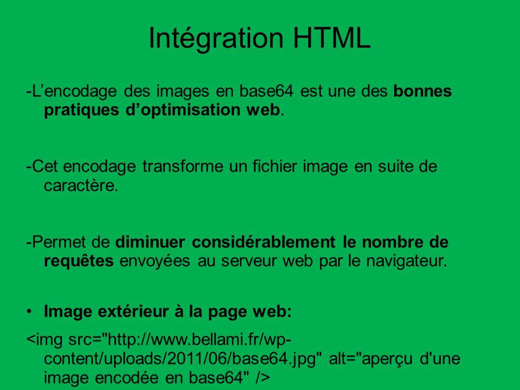Intégration HTML -Lencodage des images en base64 est une des bonnes pratiques doptimisation web. -Cet encodage transforme un fichier image en suite de
