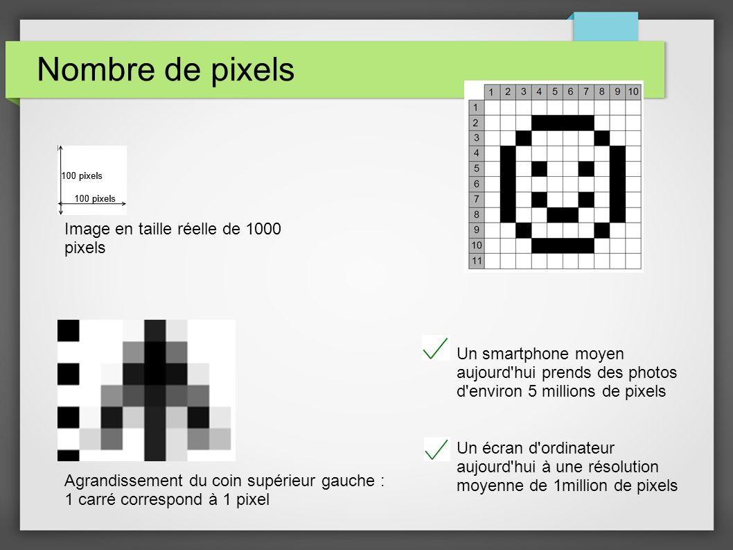 Nombre de pixels Image en taille réelle de 1000 pixels Agrandissement du coin supérieur gauche : 1 carré correspond à 1 pixel Un smartphone moyen aujo