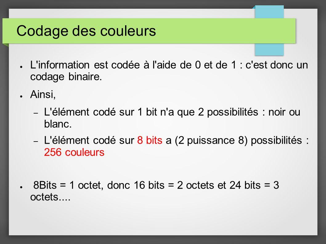 Codage des couleurs L'information est codée à l'aide de 0 et de 1 : c'est donc un codage binaire. Ainsi, – L'élément codé sur 1 bit n'a que 2 possibil