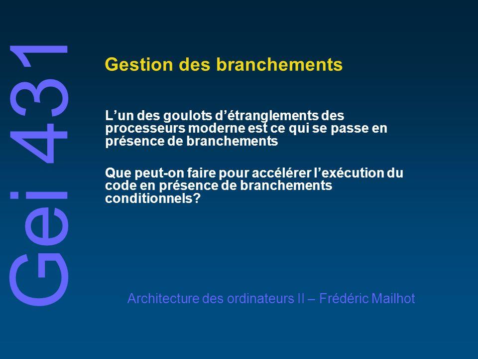© 2001 Frédéric MailhotUniversité de Sherbrooke Gestion des branchements Pourquoi la gestion des branchements est de première importance dans les architectures superscalaires.
