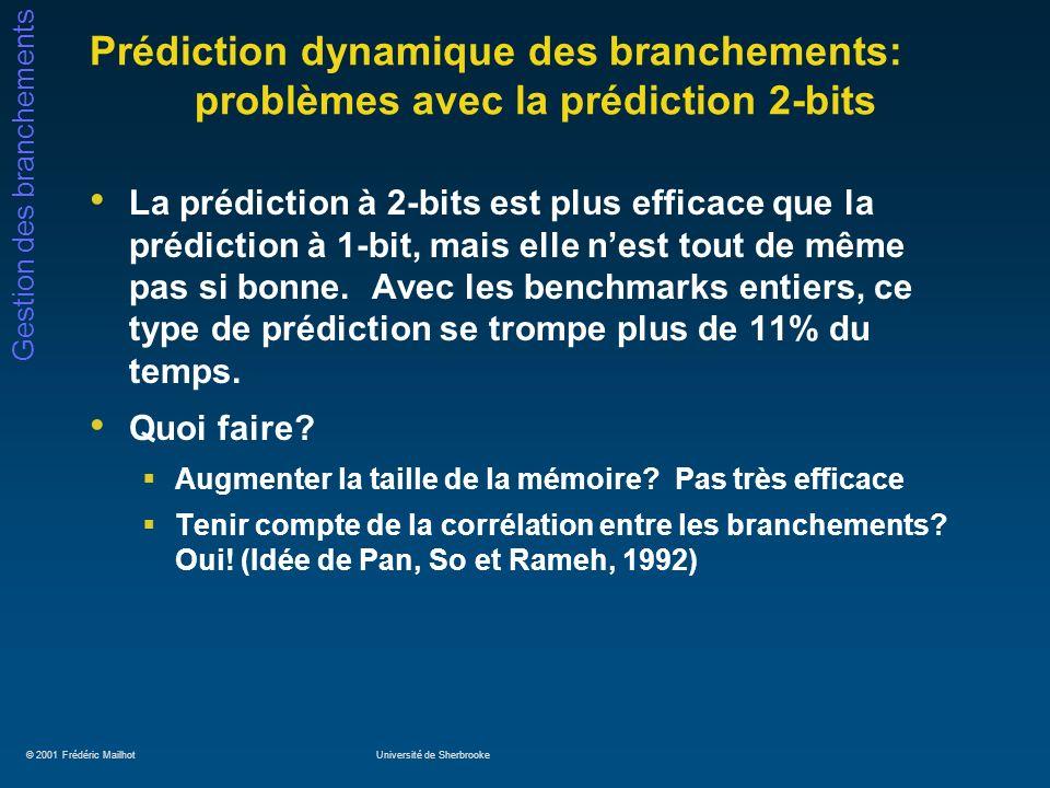 © 2001 Frédéric MailhotUniversité de Sherbrooke Gestion des branchements Prédiction dynamique des branchements: problèmes avec la prédiction 2-bits La prédiction à 2-bits est plus efficace que la prédiction à 1-bit, mais elle nest tout de même pas si bonne.
