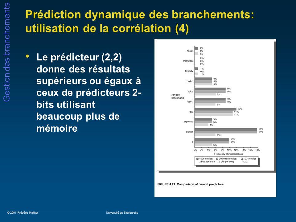 © 2001 Frédéric MailhotUniversité de Sherbrooke Gestion des branchements Prédiction dynamique des branchements: utilisation de la corrélation (4) Le p