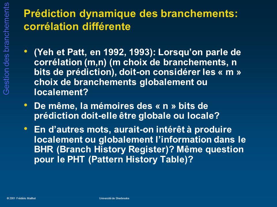 © 2001 Frédéric MailhotUniversité de Sherbrooke Gestion des branchements Prédiction dynamique des branchements: corrélation différente (Yeh et Patt, e