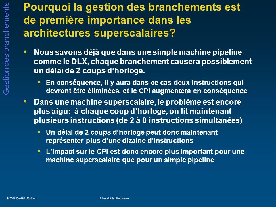 © 2001 Frédéric MailhotUniversité de Sherbrooke Gestion des branchements Pourquoi la gestion des branchements est de première importance dans les arch