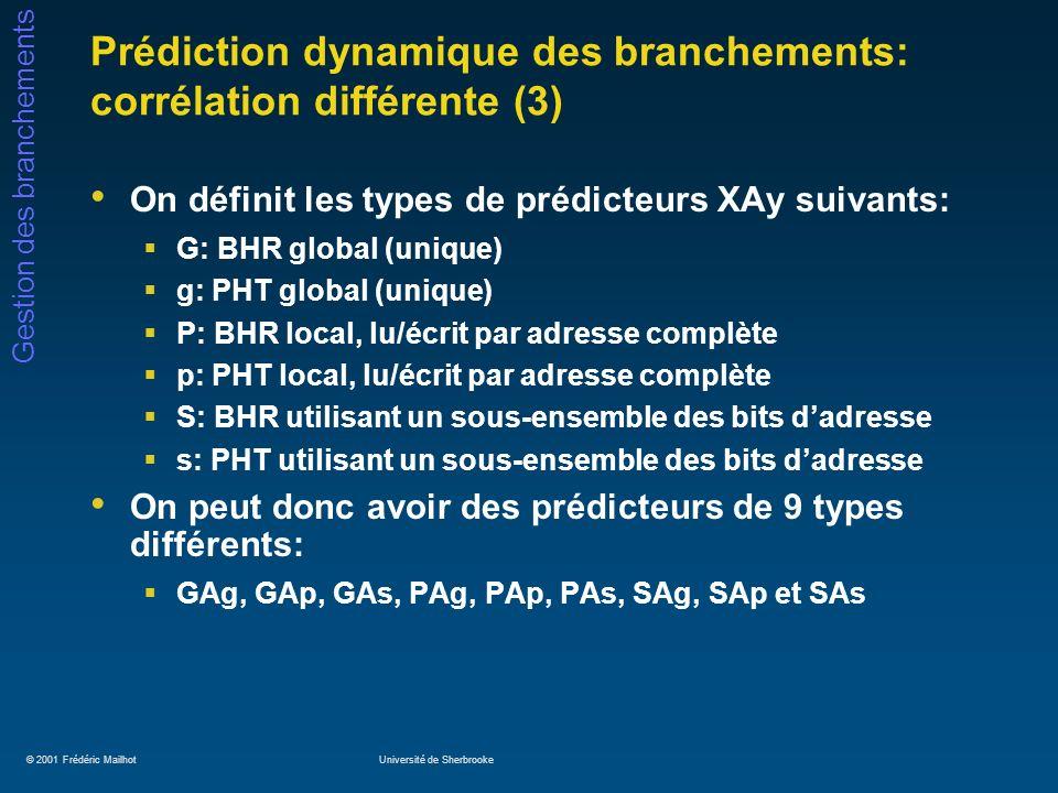 © 2001 Frédéric MailhotUniversité de Sherbrooke Gestion des branchements Prédiction dynamique des branchements: corrélation différente (3) On définit