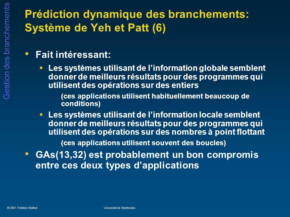 © 2001 Frédéric MailhotUniversité de Sherbrooke Gestion des branchements Prédiction dynamique des branchements: Système de Yeh et Patt (6) Fait intére