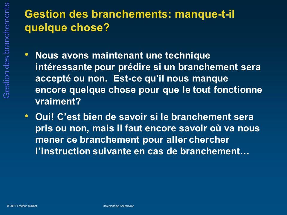 © 2001 Frédéric MailhotUniversité de Sherbrooke Gestion des branchements Gestion des branchements: manque-t-il quelque chose? Nous avons maintenant un