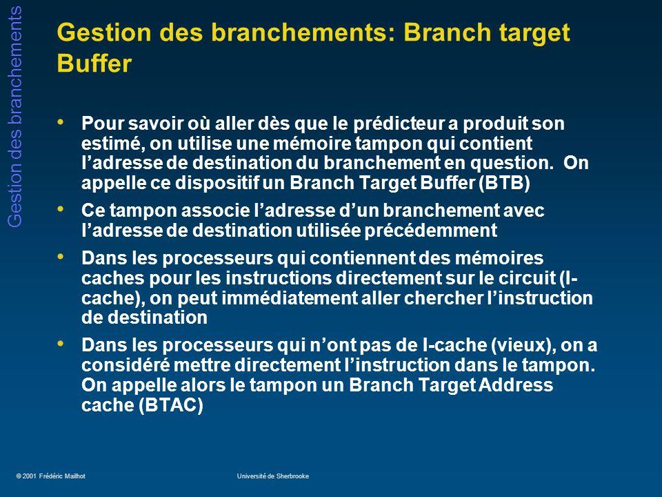 © 2001 Frédéric MailhotUniversité de Sherbrooke Gestion des branchements Gestion des branchements: Branch target Buffer Pour savoir où aller dès que l