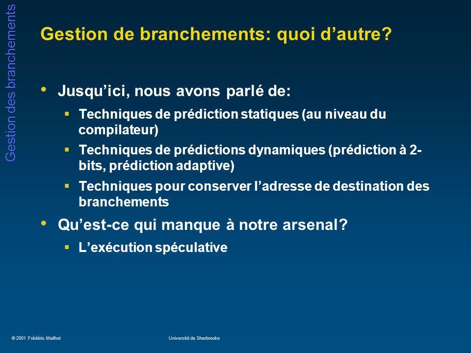 © 2001 Frédéric MailhotUniversité de Sherbrooke Gestion des branchements Gestion de branchements: quoi dautre? Jusquici, nous avons parlé de: Techniqu