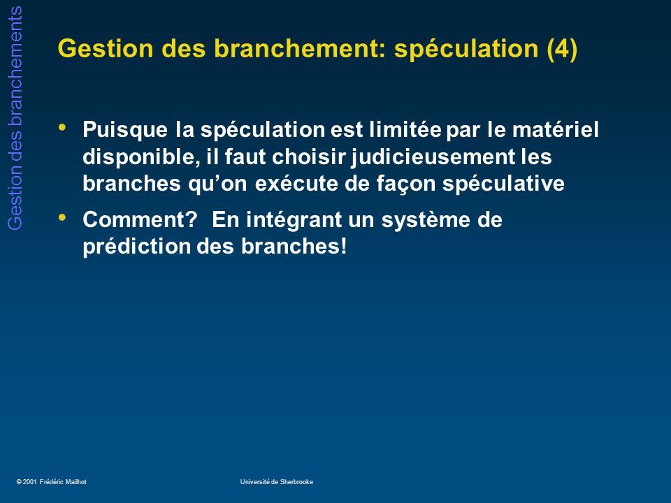 © 2001 Frédéric MailhotUniversité de Sherbrooke Gestion des branchements Gestion des branchement: spéculation (4) Puisque la spéculation est limitée p