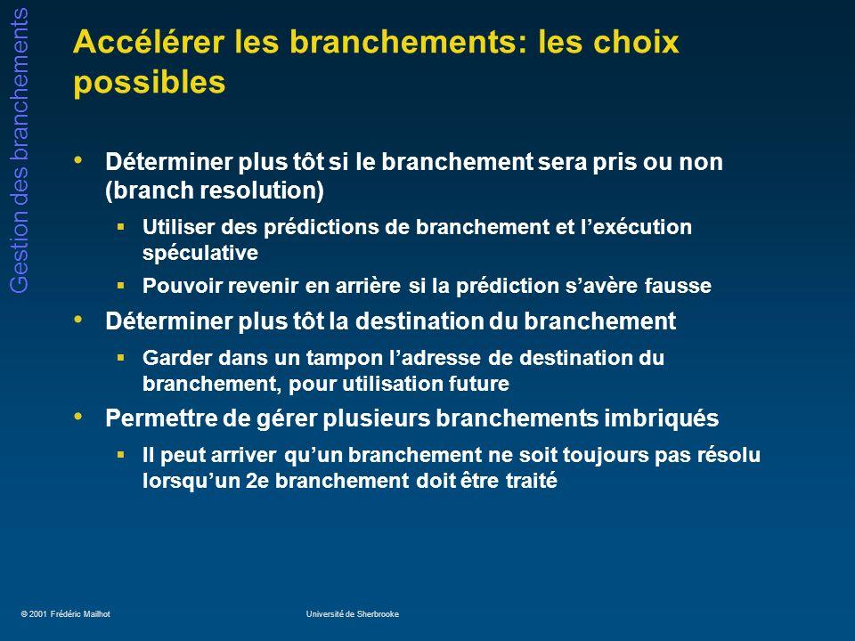 © 2001 Frédéric MailhotUniversité de Sherbrooke Gestion des branchements Gestion des branchements: spéculation (2) Si le processeur le supporte, le compilateur pourrait réécrire la portion de code précédente comme suit: Pred = (x == 0) ;/* branche b1 */ if Pred then a = b + c ;/* Opération effectuée seulement si */ if Pred then d = e – f ;/* Pred est vrai */ g = h * i ; Cette technique est utilisée dans le processeur Itanium (aka Merced, IA64) de Intel / HP