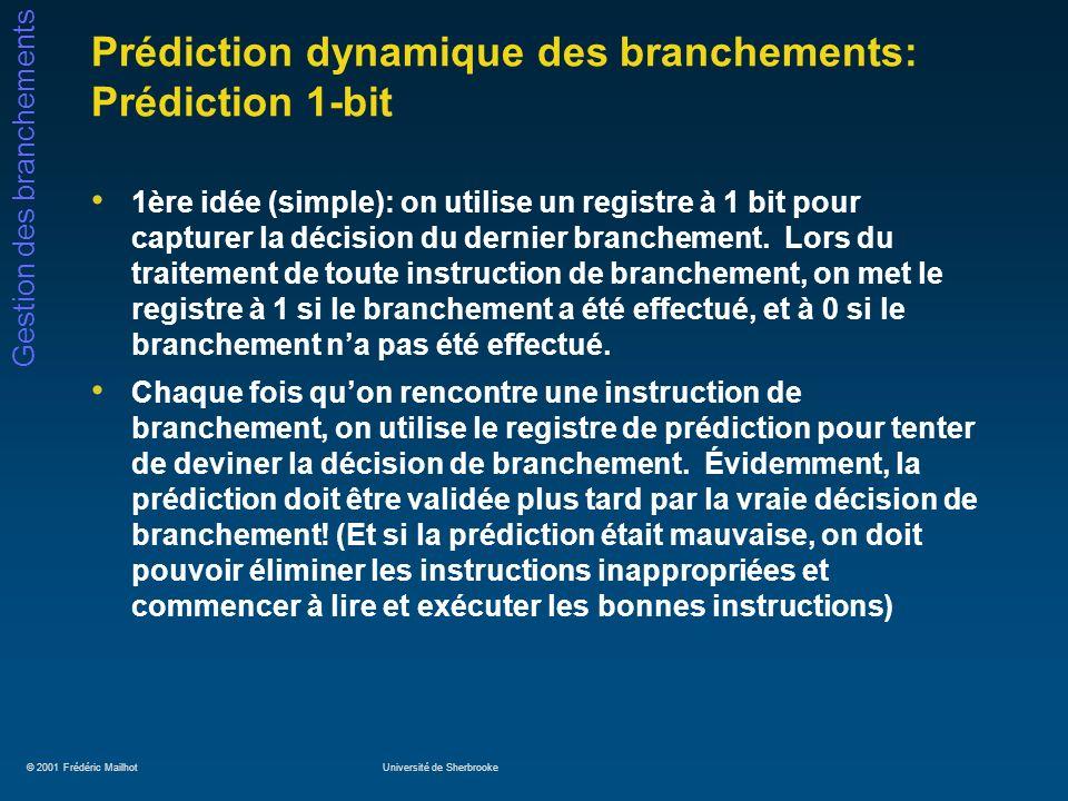© 2001 Frédéric MailhotUniversité de Sherbrooke Gestion des branchements Prédiction dynamique des branchements: utilisation de la corrélation (2) Si on utilise les « m » derniers branchements (leurs valeurs, 1 ou 0, étant conservées dans un registre à décalage de « m » bits) Si on utilise un prédicteur à n-bits dans notre tampon de prédiction On dit que le prédicteur basé sur la corrélation est un prédicteur (m,n) Notre prédicteur 2-bits vu auparavant est donc un (0,2), puisquil nutilisait aucune historique Les prédicteurs (2,2) donnent habituellement de bons résultats