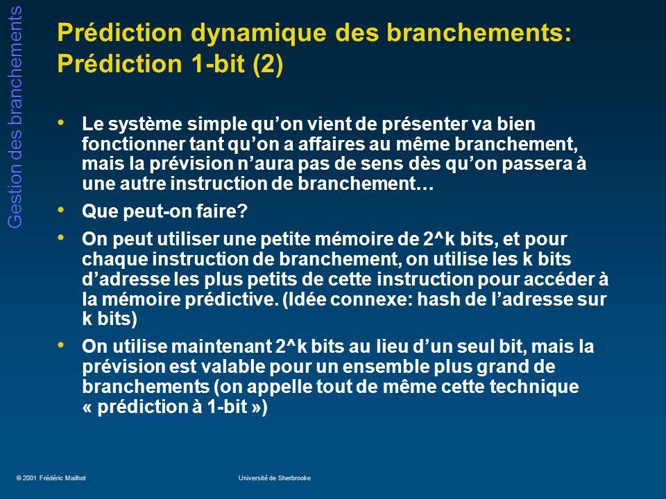 © 2001 Frédéric MailhotUniversité de Sherbrooke Gestion des branchements Prédiction dynamique des branchements: Système de Yeh et Patt (5) Coût en matériel des différents systèmes de prédiction adaptive: Meilleur système avec un budget de 128k bits: GAs(13,32), qui obtient 97,2% de succès avec les SPEC89 Type de prédicteur Longueur du BHR Nombre de PHT Coût (nombre de bits à emmagasiner) GAg(k)k1k + 2^k * 2 GAs(k,p)kpk + p * 2^k * 2 SAg(k,s)k1s * k + 2^k * 2 SAs(k,s,p)kps * k + p * 2^k * 2