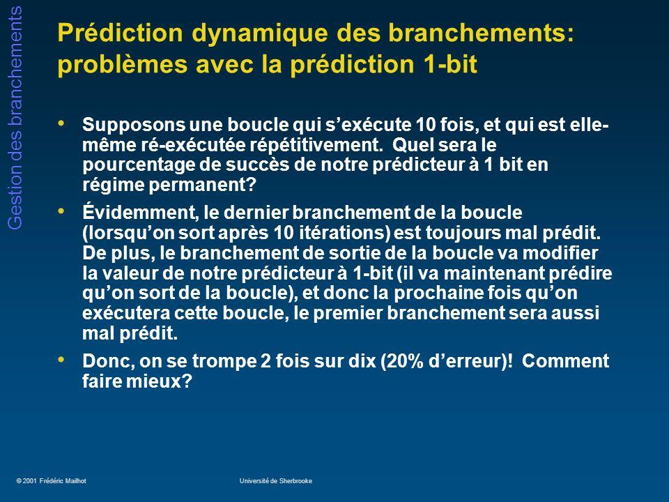 © 2001 Frédéric MailhotUniversité de Sherbrooke Gestion des branchements Prédiction dynamique des branchements: problèmes avec la prédiction 1-bit Supposons une boucle qui sexécute 10 fois, et qui est elle- même ré-exécutée répétitivement.