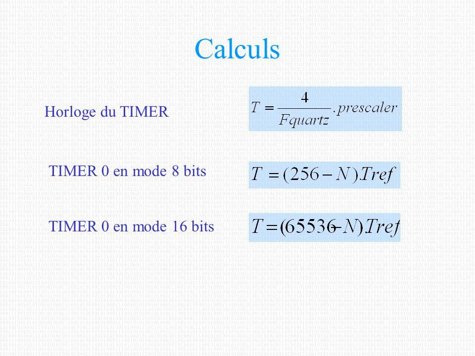 Calculs Horloge du TIMER TIMER 0 en mode 8 bits TIMER 0 en mode 16 bits