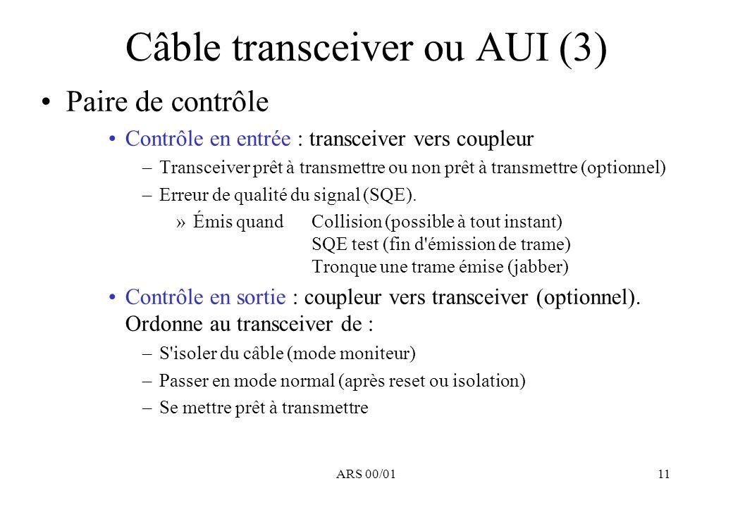 ARS 00/0111 Câble transceiver ou AUI (3) Paire de contrôle Contrôle en entrée : transceiver vers coupleur –Transceiver prêt à transmettre ou non prêt à transmettre (optionnel) –Erreur de qualité du signal (SQE).