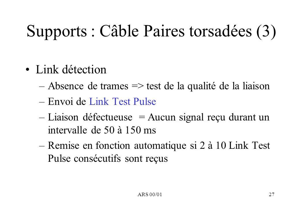 ARS 00/0127 Supports : Câble Paires torsadées (3) Link détection –Absence de trames => test de la qualité de la liaison –Envoi de Link Test Pulse –Liaison défectueuse = Aucun signal reçu durant un intervalle de 50 à 150 ms –Remise en fonction automatique si 2 à 10 Link Test Pulse consécutifs sont reçus