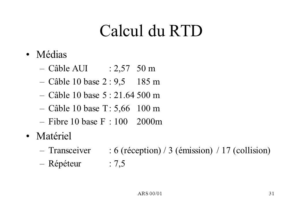 ARS 00/0131 Calcul du RTD Médias –Câble AUI : 2,5750 m –Câble 10 base 2: 9,5185 m –Câble 10 base 5: 21.64500 m –Câble 10 base T: 5,66100 m –Fibre 10 base F : 1002000m Matériel –Transceiver: 6 (réception) / 3 (émission) / 17 (collision) –Répéteur: 7,5
