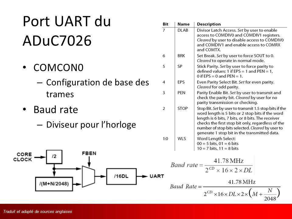 Traduit et adapté de langlaisTraduit et adapté de sources anglaises Port UART du ADuC7026 COMCON0 – Configuration de base des trames Baud rate – Divis