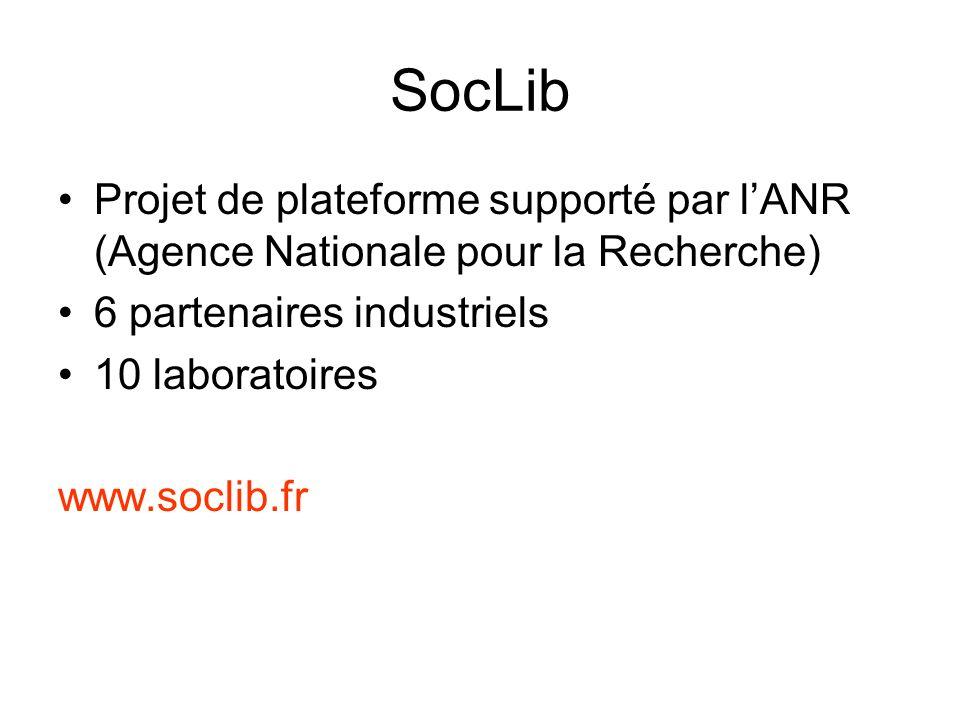 SocLib Projet de plateforme supporté par lANR (Agence Nationale pour la Recherche) 6 partenaires industriels 10 laboratoires www.soclib.fr