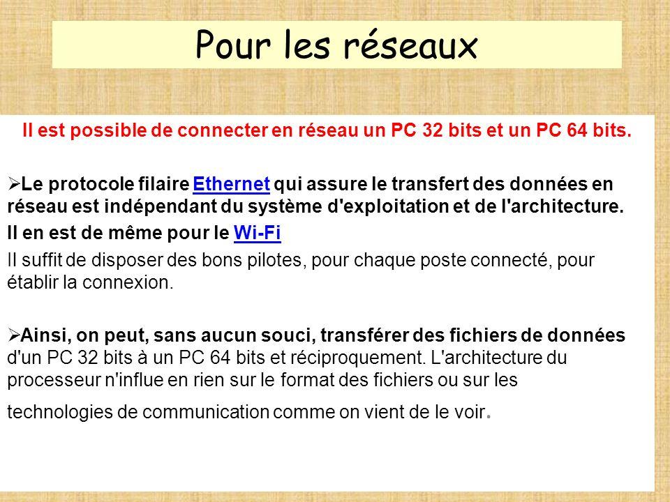 Pour les réseaux Il est possible de connecter en réseau un PC 32 bits et un PC 64 bits. Le protocole filaire Ethernet qui assure le transfert des donn