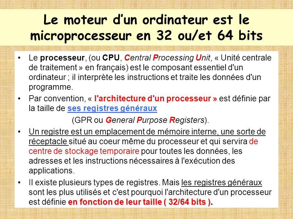Le SE dépend des processeurs en 32 ou 64 bits La différence entre les deux processeurs, est que, pour chaque cycle d horloge ( circuit électronique qui génère des impulsions ), un processeur à larchitecture 64 bits a la capacité, en théorie, de traiter 2 fois plus d instructions qu un processeur à 32 bits.