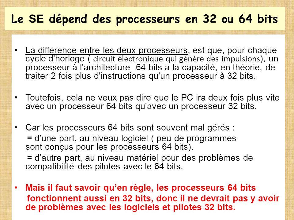 Le SE dépend des processeurs en 32 ou 64 bits La différence entre les deux processeurs, est que, pour chaque cycle d'horloge ( circuit électronique qu