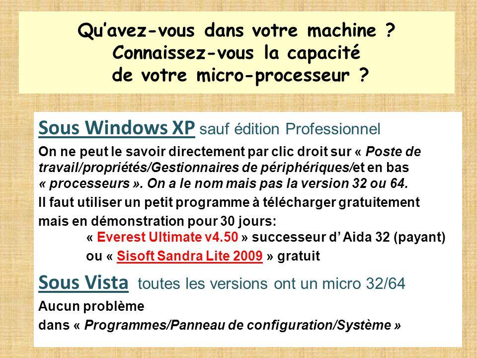 Quavez-vous dans votre machine ? Connaissez-vous la capacité de votre micro-processeur ? Sous Windows XP sauf édition Professionnel On ne peut le savo