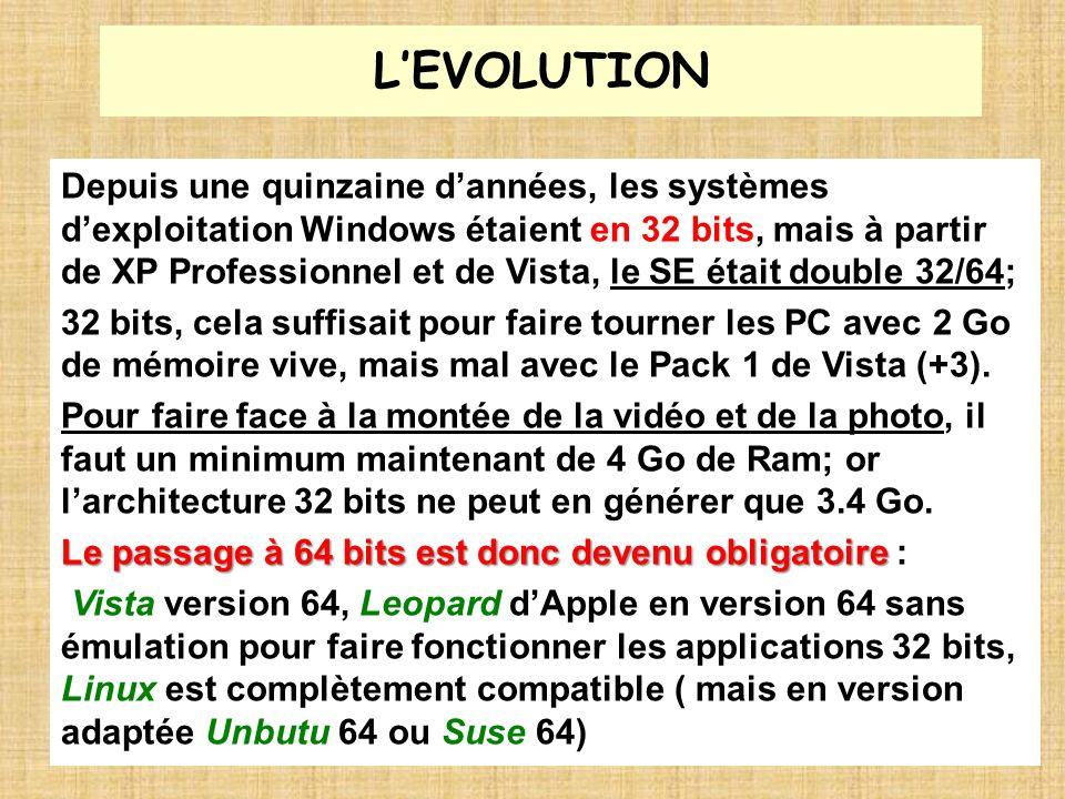 LEVOLUTION Depuis une quinzaine dannées, les systèmes dexploitation Windows étaient en 32 bits, mais à partir de XP Professionnel et de Vista, le SE é