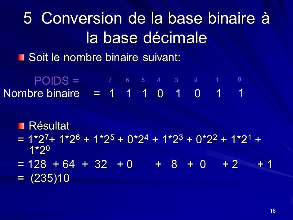 16 5 Conversion de la base binaire à la base décimale Soit le nombre binaire suivant: Résultat = 1*2 7 + 1*2 6 + 1*2 5 + 0*2 4 + 1*2 3 + 0*2 2 + 1*2 1