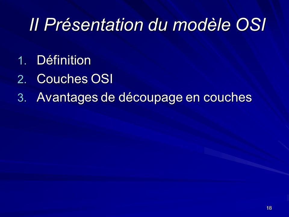 18 II Présentation du modèle OSI 1. Définition 2. Couches OSI 3. Avantages de découpage en couches