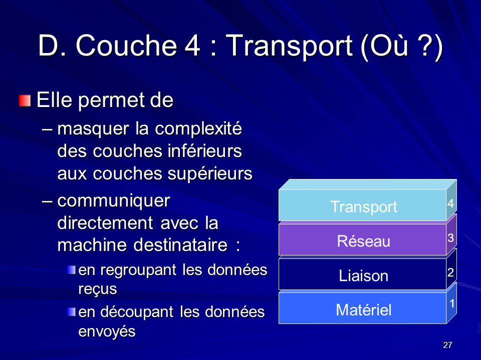 27 D. Couche 4 : Transport (Où ?) Elle permet de –masquer la complexité des couches inférieurs aux couches supérieurs –communiquer directement avec la