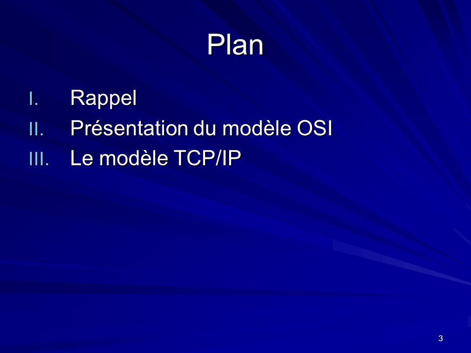 3 Plan I. Rappel II. Présentation du modèle OSI III. Le modèle TCP/IP