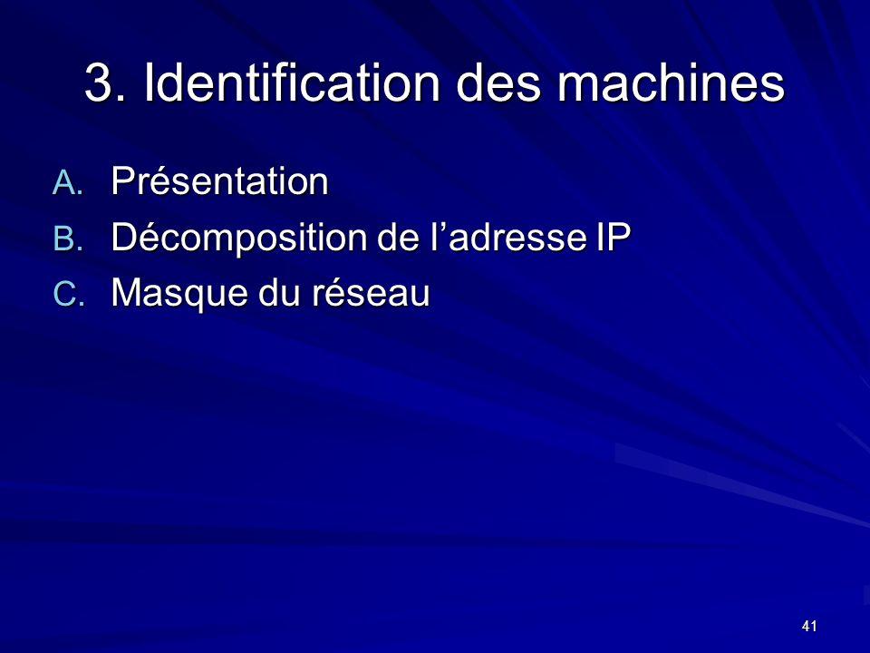41 3. Identification des machines A. Présentation B. Décomposition de ladresse IP C. Masque du réseau