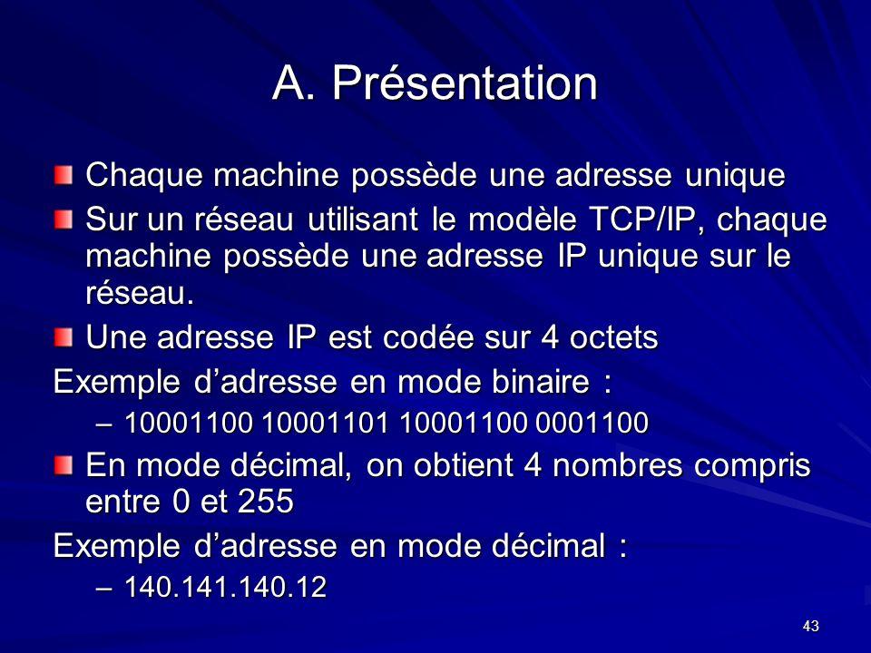 43 A. Présentation Chaque machine possède une adresse unique Sur un réseau utilisant le modèle TCP/IP, chaque machine possède une adresse IP unique su