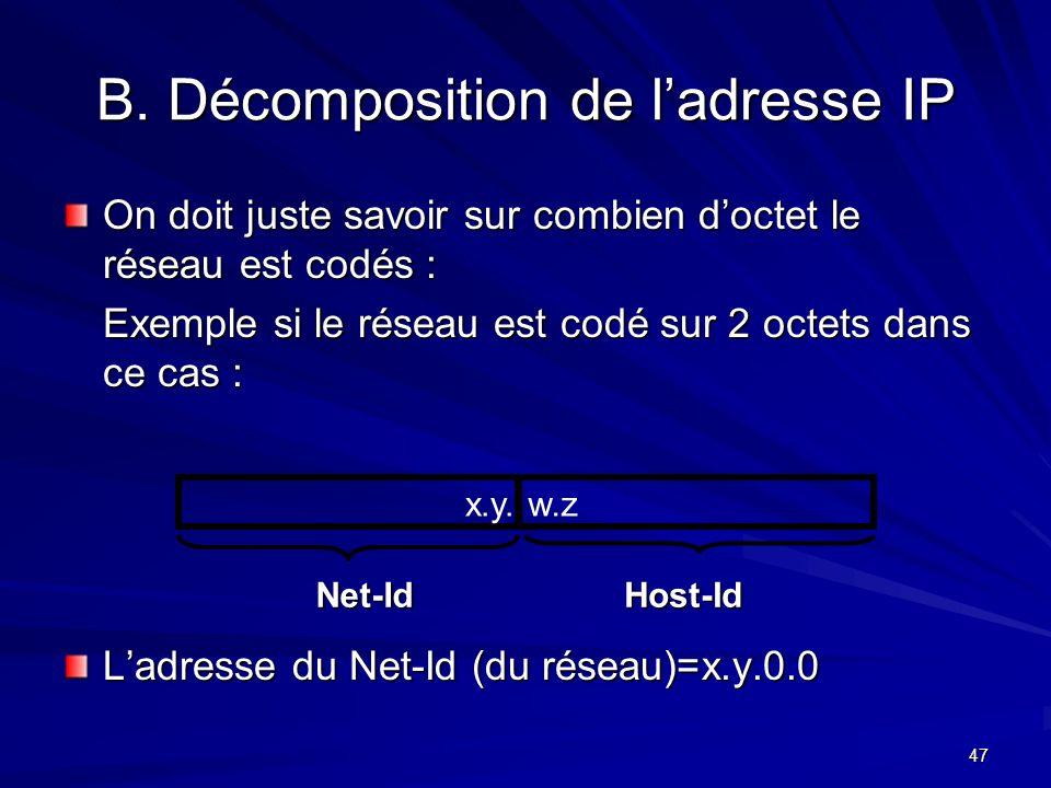 47 B. Décomposition de ladresse IP On doit juste savoir sur combien doctet le réseau est codés : Exemple si le réseau est codé sur 2 octets dans ce ca