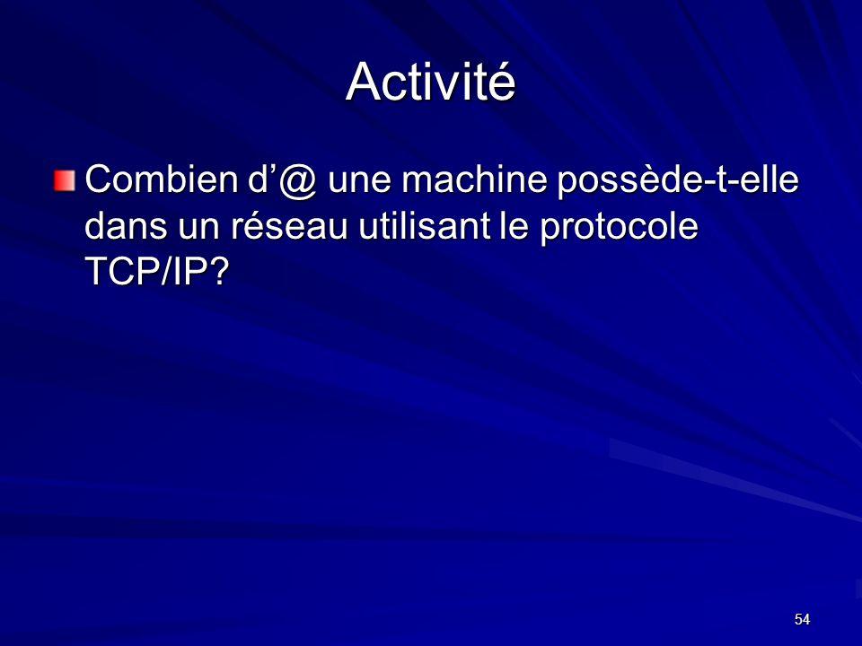 54 Activité Combien d@ une machine possède-t-elle dans un réseau utilisant le protocole TCP/IP?