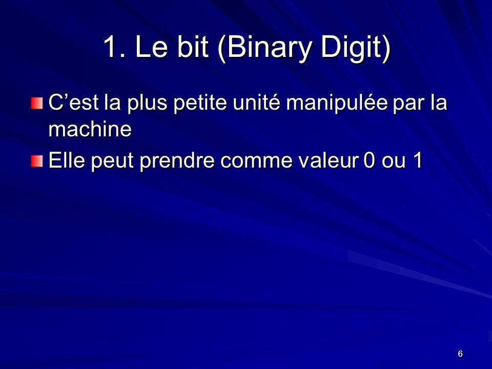 6 1. Le bit (Binary Digit) Cest la plus petite unité manipulée par la machine Elle peut prendre comme valeur 0 ou 1