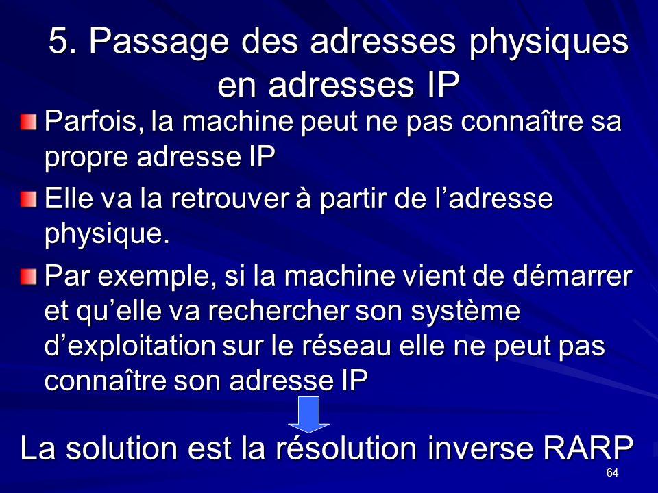 64 5. Passage des adresses physiques en adresses IP Parfois, la machine peut ne pas connaître sa propre adresse IP Elle va la retrouver à partir de la