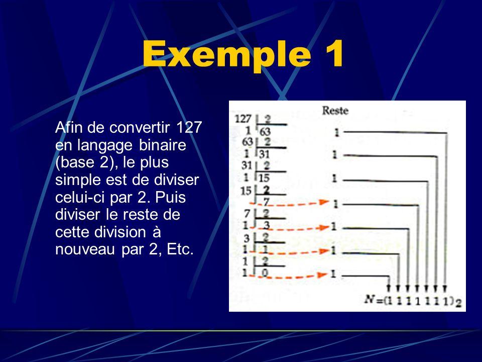 Exemple 1 Afin de convertir 127 en langage binaire (base 2), le plus simple est de diviser celui-ci par 2. Puis diviser le reste de cette division à n
